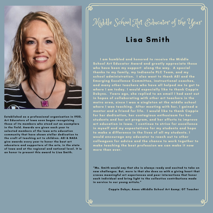 Lisa Smith Middle School Art Educator Of The Year Graphic
